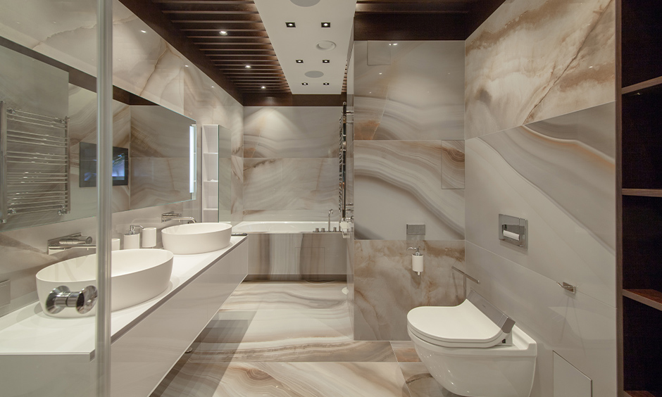 Modern false ceiling designed for bathroom with dark wooden panels looks elegant.