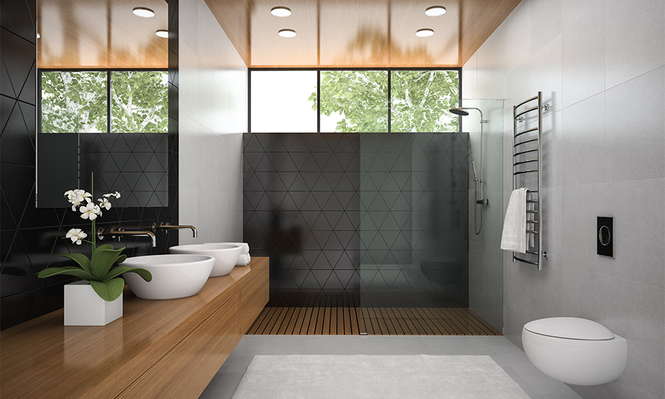 Modern bathroom false ceiling designed with wood looks and feel more natural.