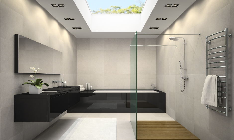 Modern bathroom false ceiling with open glass design to flow natural light.