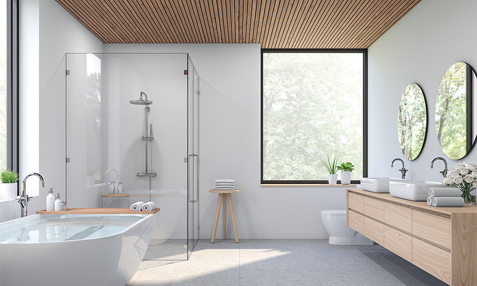 Narrow wooden strip designed modern bathroom false ceiling looks natural and neat.