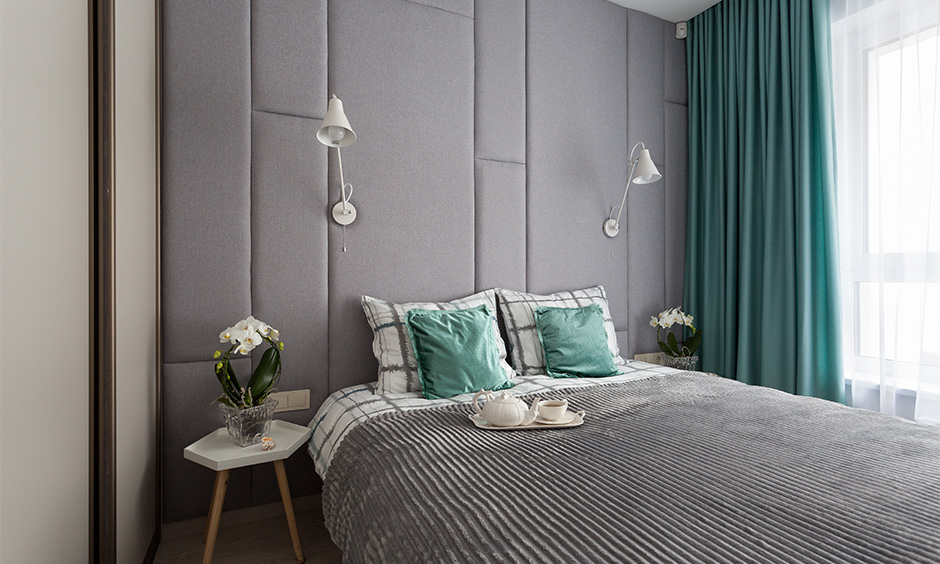Aqua blue paint colour, small bedroom decorated with aqua blue pillows and curtain look utterly stylish.