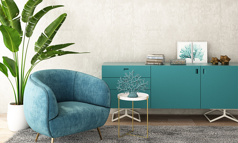 Waiting room with aqua blue coloured chair and cabinet look beautiful, best aqua paint colors.