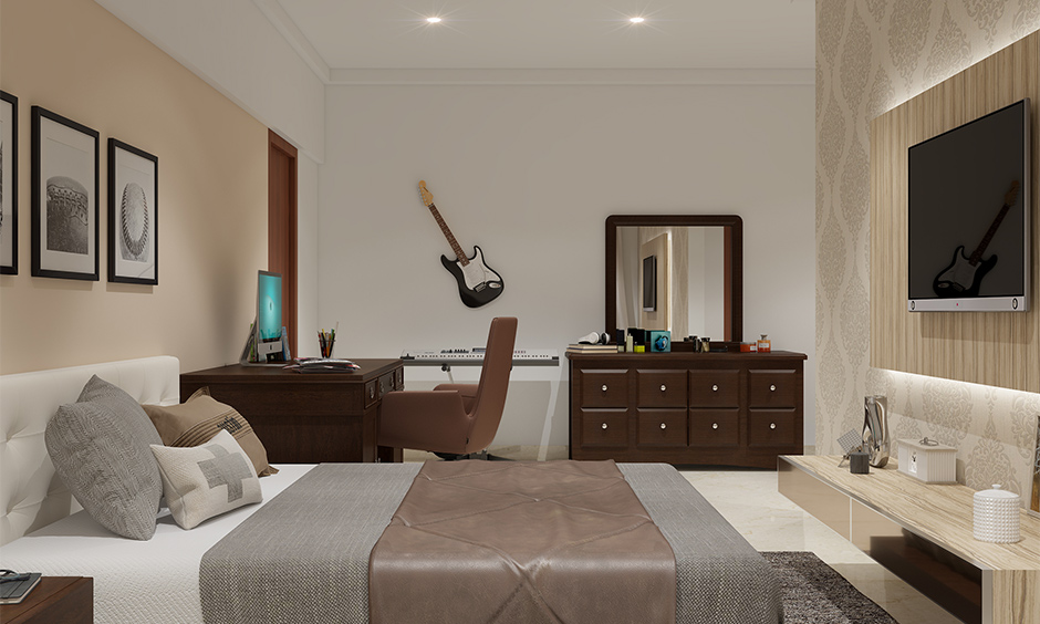 Classic brown wooden dressing table colour with the chest of drawer highlights in the bedroom.