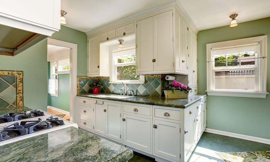 Green granite countertops colors for modern kitchen
