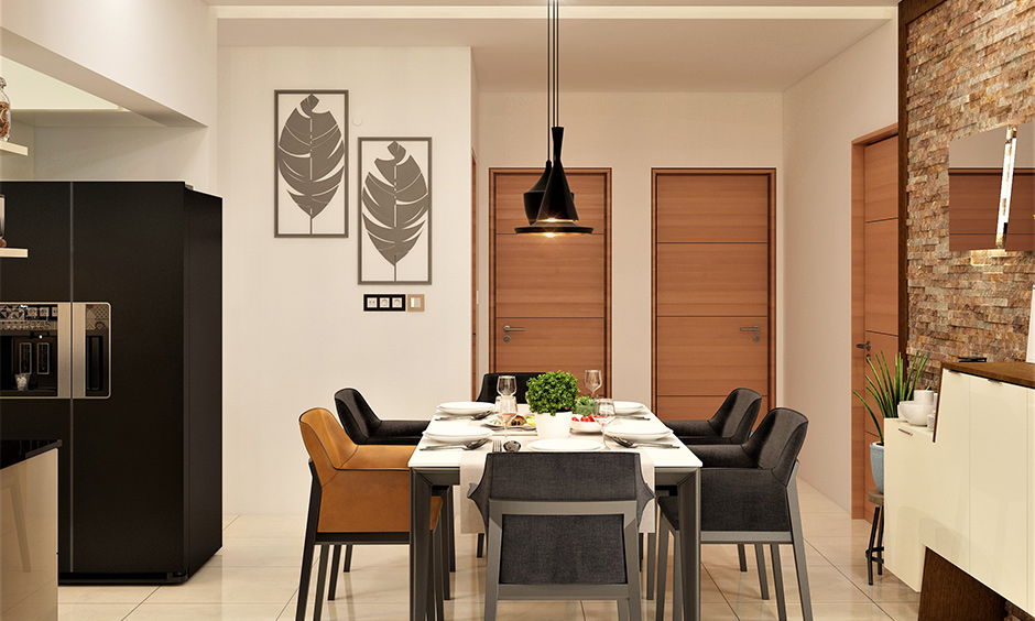 Colorful dining table in white and grey with armchair-styled seating lends luxury to the area.