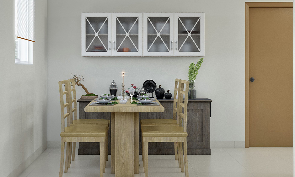 Dining room table color, White dining room with light colour wooden dining table and chairs looks simple yet pretty.