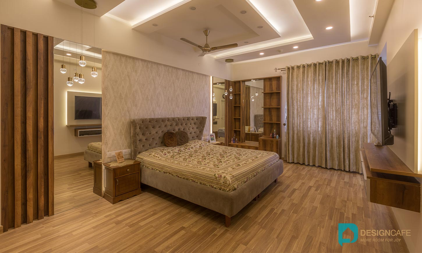 Modern bedroom designed by design cafe for house interiors in bangalore