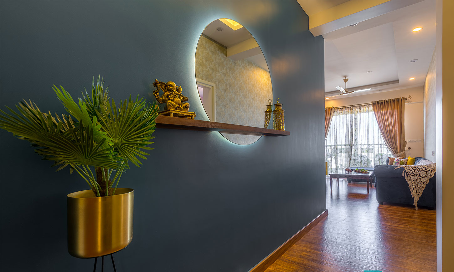 Top interiors in bangalore designed by design cafe for hall entrance