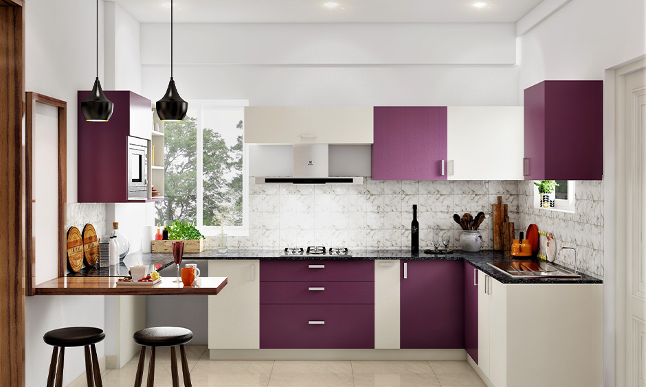 U-shaped kitchen cupboard colour combination in grape and white looks very modern and stylish