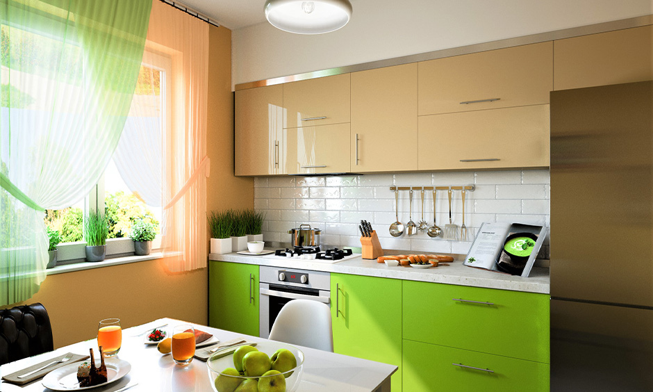 Kitchen cupboard colour scheme in lime green and cream combination brings nature touch