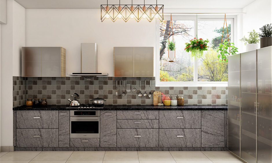 One wall kitchen, Light grey cupboard kitchen colour look contemporary and sleek