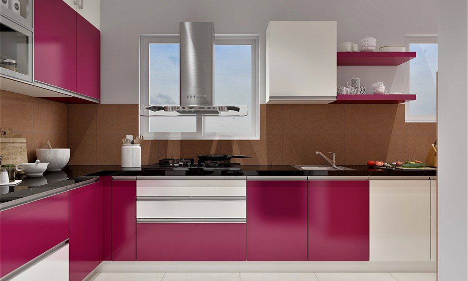 Kitchen cupboard colour, a combination of magenta and off-white cupboard colour lends a bold vibe