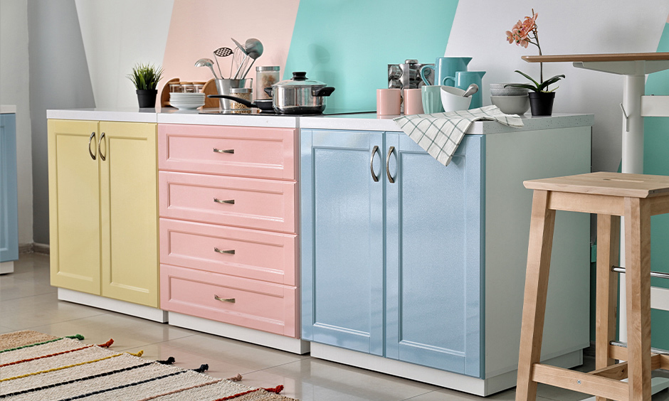Latest kitchen cupboard colour, pastel-shaded cupboard colour brings warmth to the area