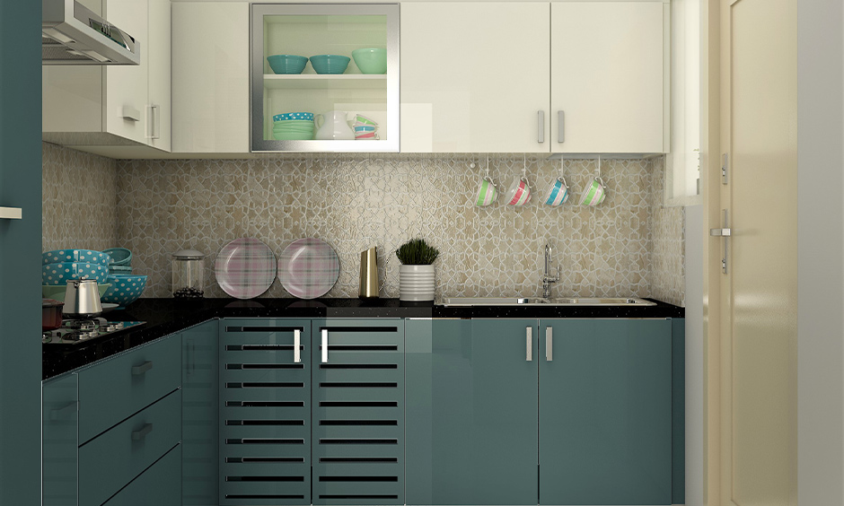 Steel-blue and white kitchen cupboard colour combination with glossy finish looks aesthetic