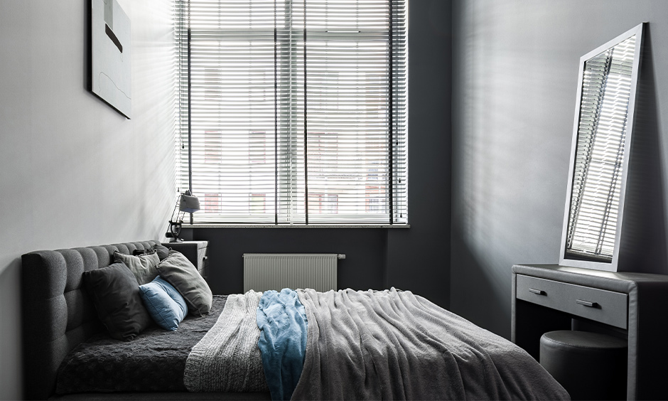 All-grey modern small dressing table with drawers in the bedroom look adored