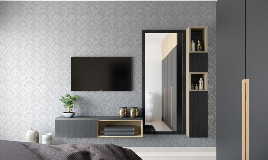 Wall hanged vertical dressing table design for small bedroom with clutter-free storage space