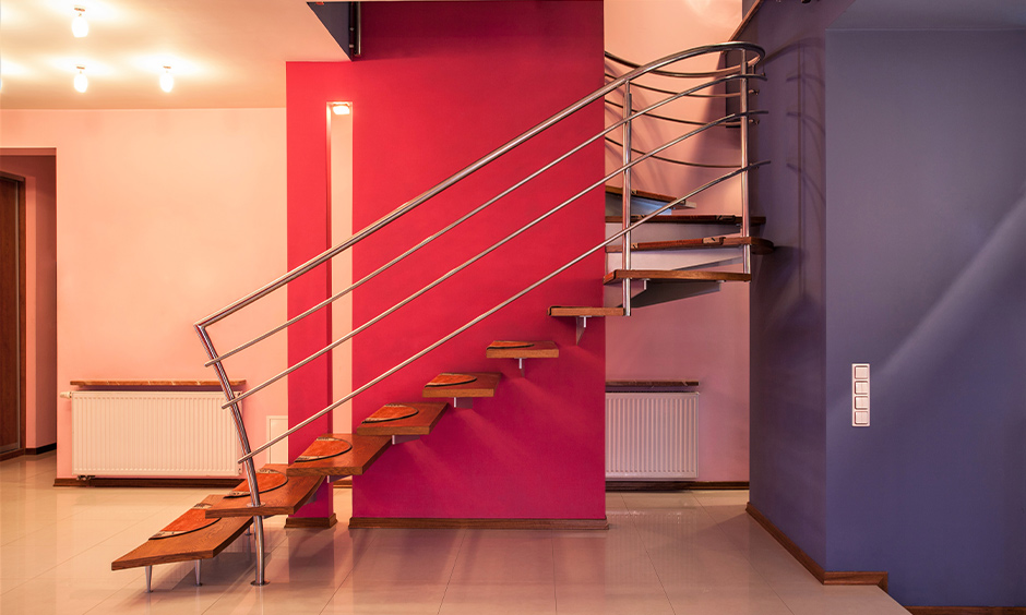 Staircase colour ideas for your home with blue and orange colour combination