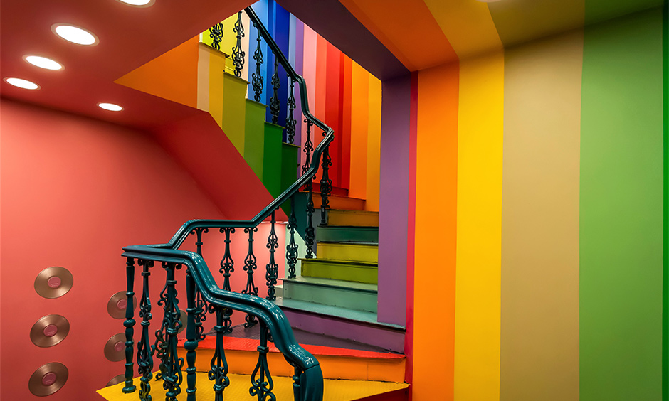Staircase wall colour combination which  is a great way to infuse personalisation