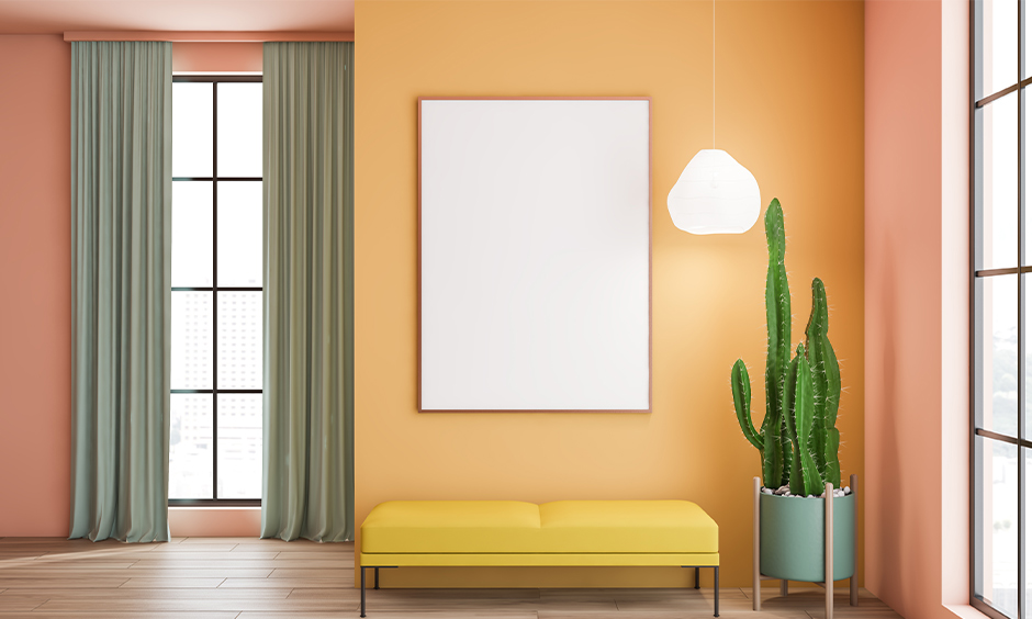 Grey curtains for yellow walls in your living room