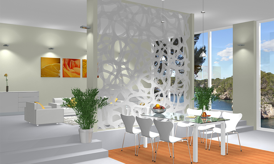 Living cum dining area with patterned interior partition wall type looks elegant and chic