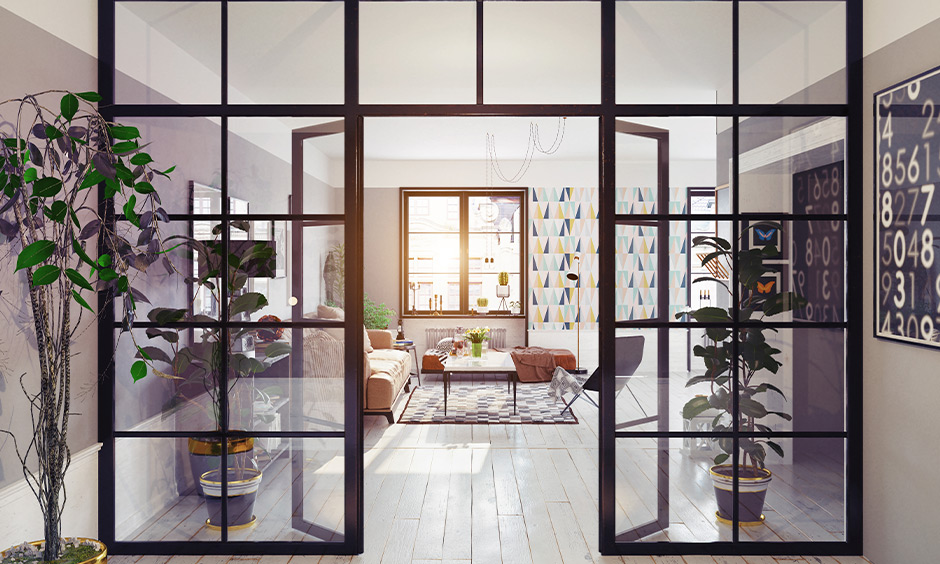Type of glass partitioned wall with black border looks classy and adds a grandeur touch to the room
