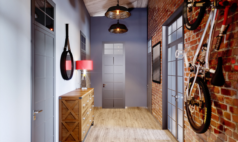 Ceiling lights design for hall,  urban-modern hallway with two black brass pendant lights adds a retro flavour