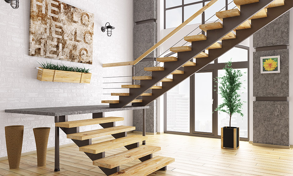 Staircase wall decor idea for modern rustic, staircase wall with a piece of arts hanged creates unique touch