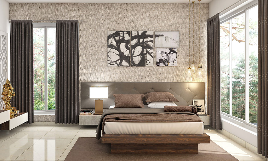 Bed direction as per Vastu positioned in the south-facing and windows covered with dark curtains for positive.