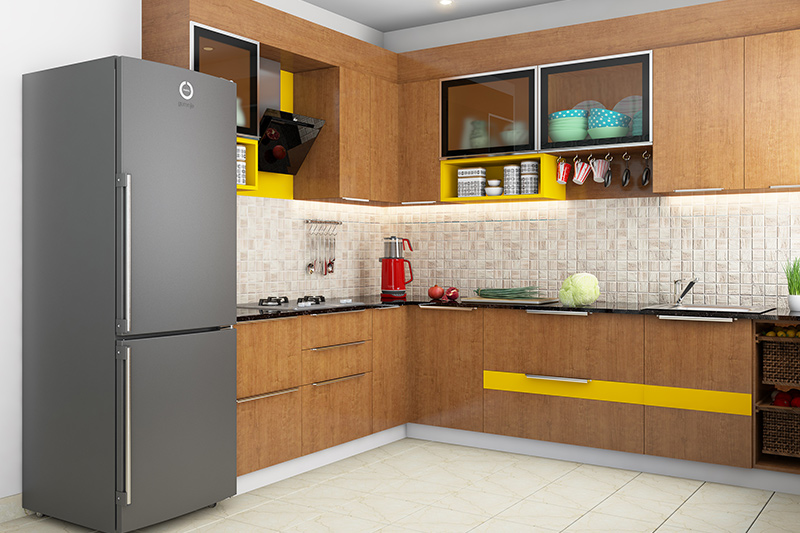 Clutter-free kitchen cabinet rack designed to hold crockery items with glass door look minimalistic.
