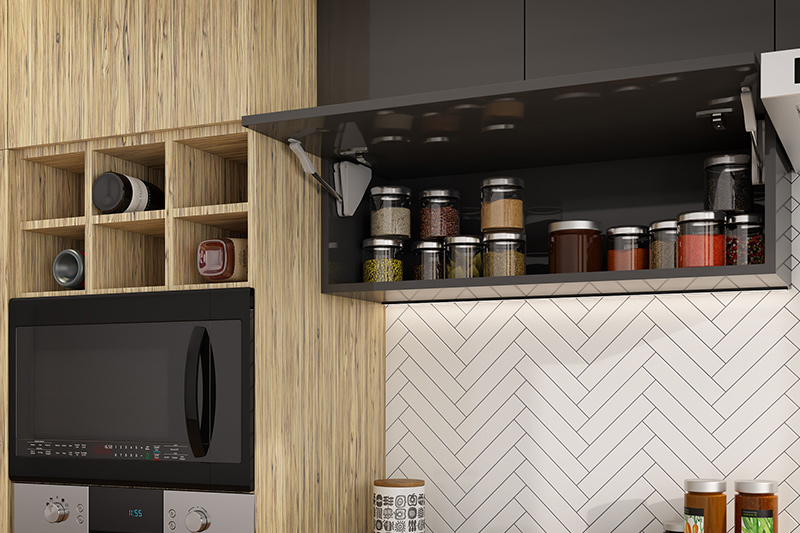Kitchen rack idea, Wall-mounted jar rack with push to open door is easy to reach and plenty of storage.