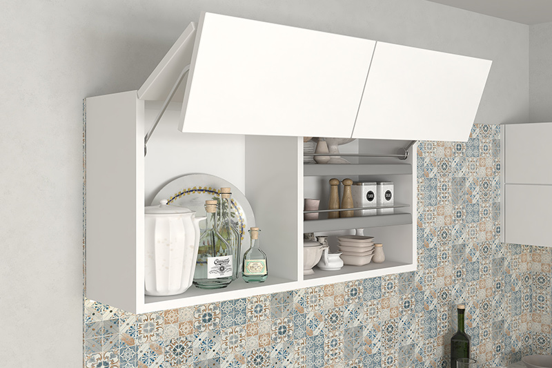 Modular kitchen with lift-up kitchen rack in the white laminate finish with plenty of storage.