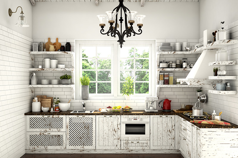 Open kitchen storage racks, White kitchen with storage racks designed and looks rustic.