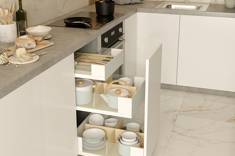 Kitchen drawer rack, Modular kitchen with pull-out drawer in a white laminate finish easy to access and store.