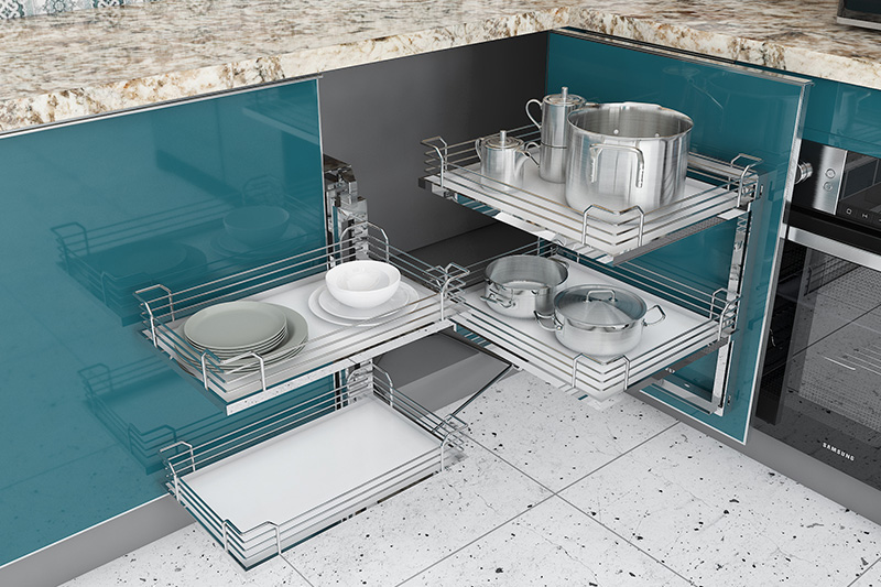 Kitchen cupboard rack, kitchen designed with s utensils rack for organising and hassle-free storage.