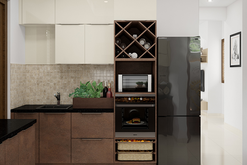 Wine bottle kitchen rack, wine rack serves as the perfect organiser and easy reach.