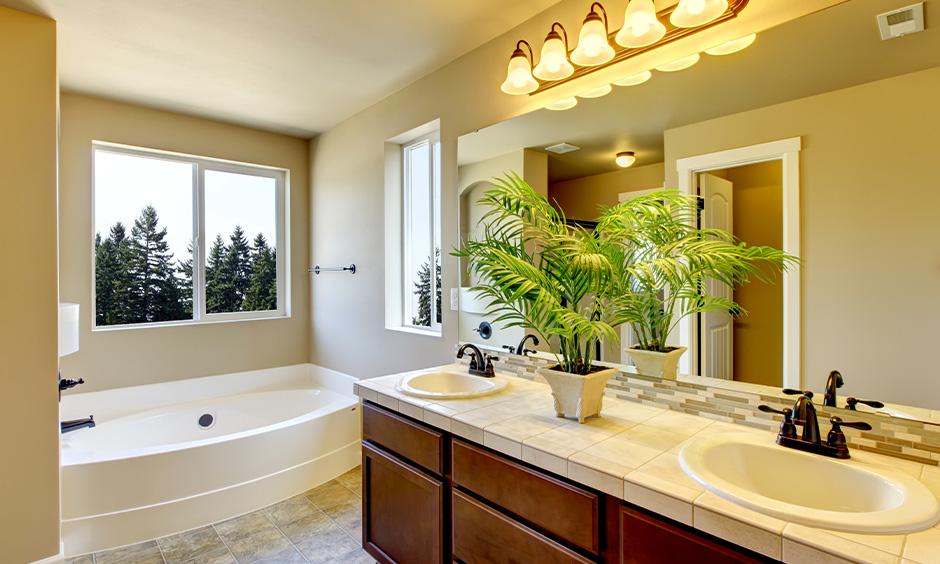 Bathroom window idea, Class bathroom designed with small functional window looks minimal.