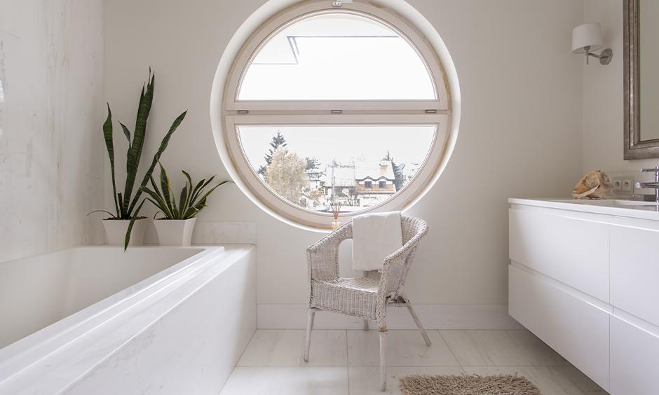Washroom window design, Bathroom with a rectangular-shaped window design look aesthetic.