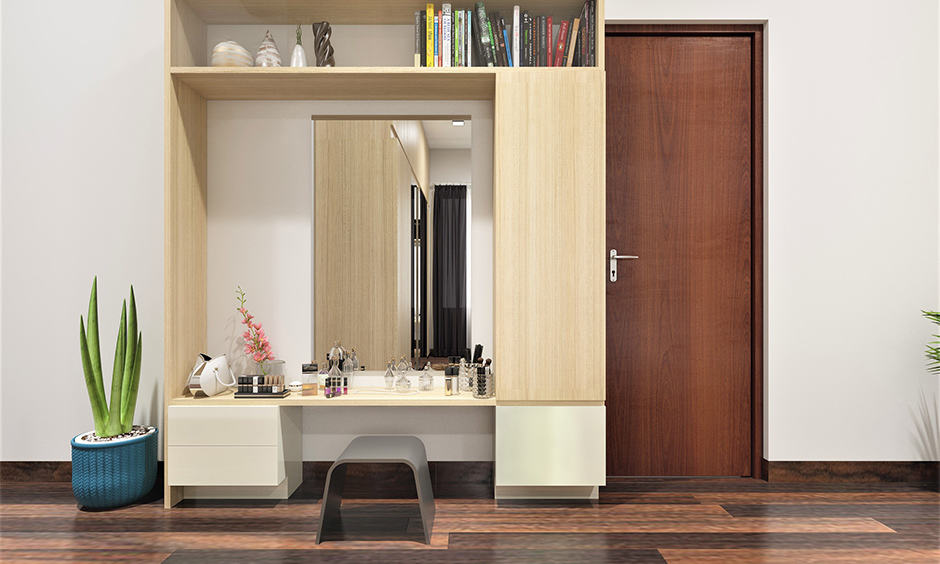 Simple dressing table designs with built-in seat area