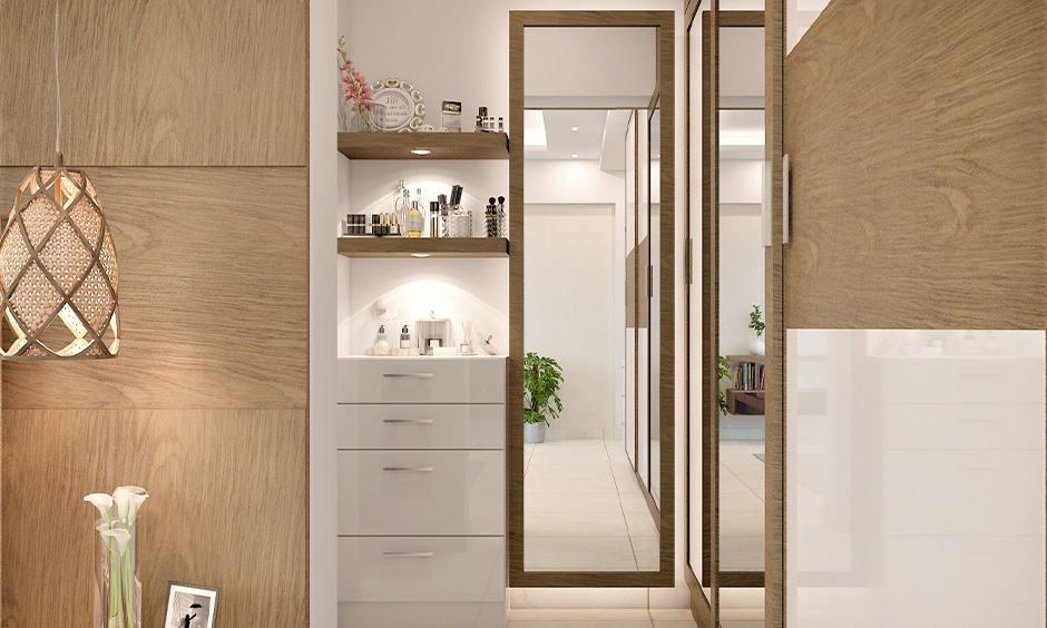 Simple dressing table designs with recessed lights