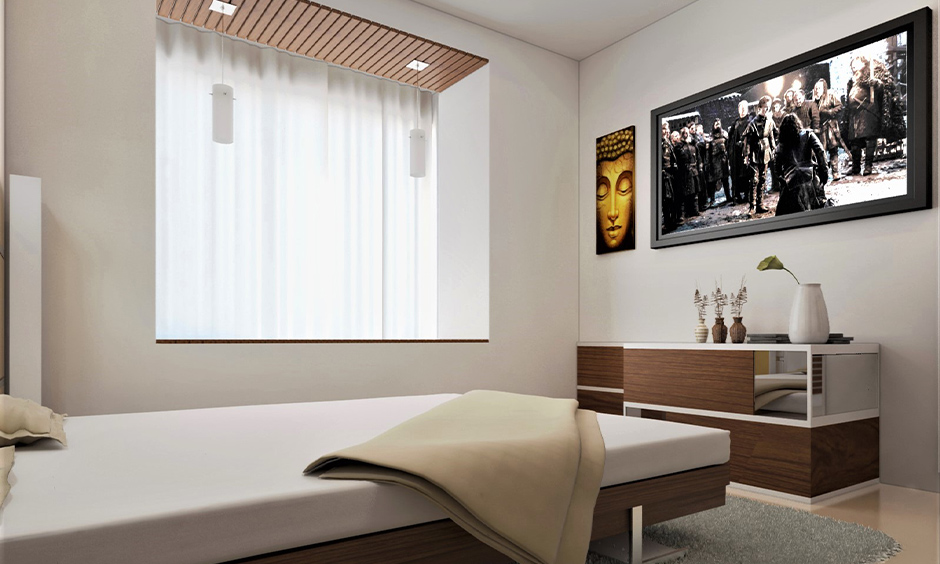 Modern bedroom window design, recessed window with an additional seating space give a stylish touch to the area.