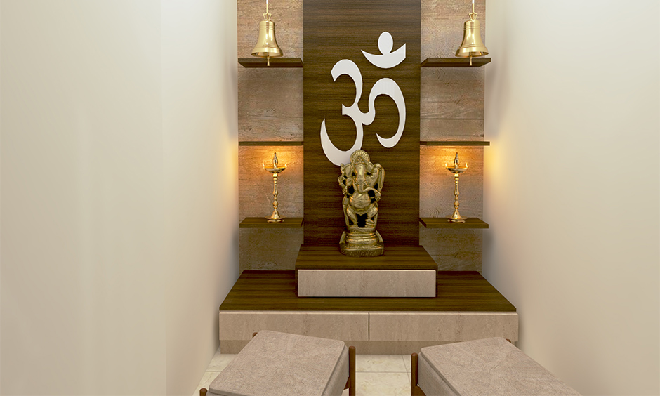 Small pooja room designs in apartments constructed with a wooden back feature wall