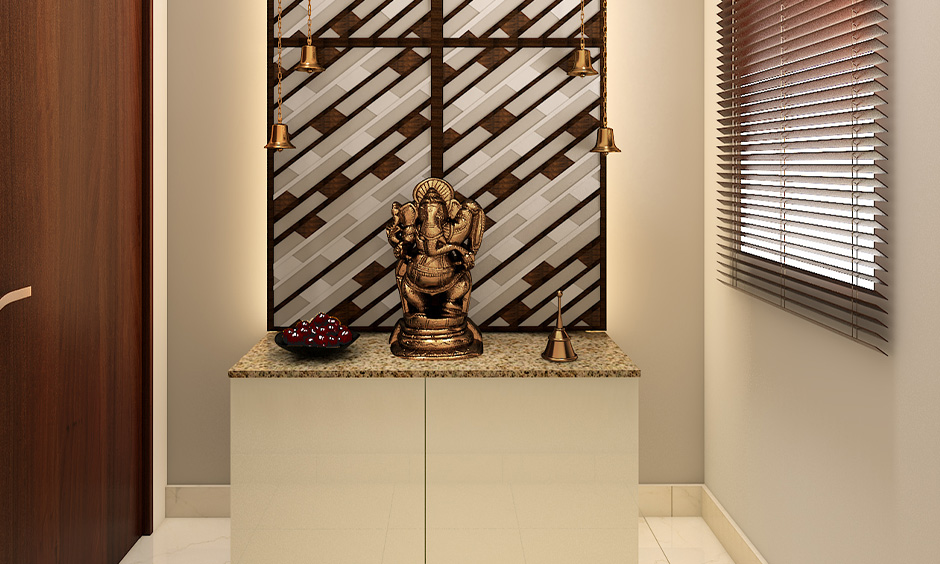 South indian small pooja room designs in apartments which has a classic elegant look