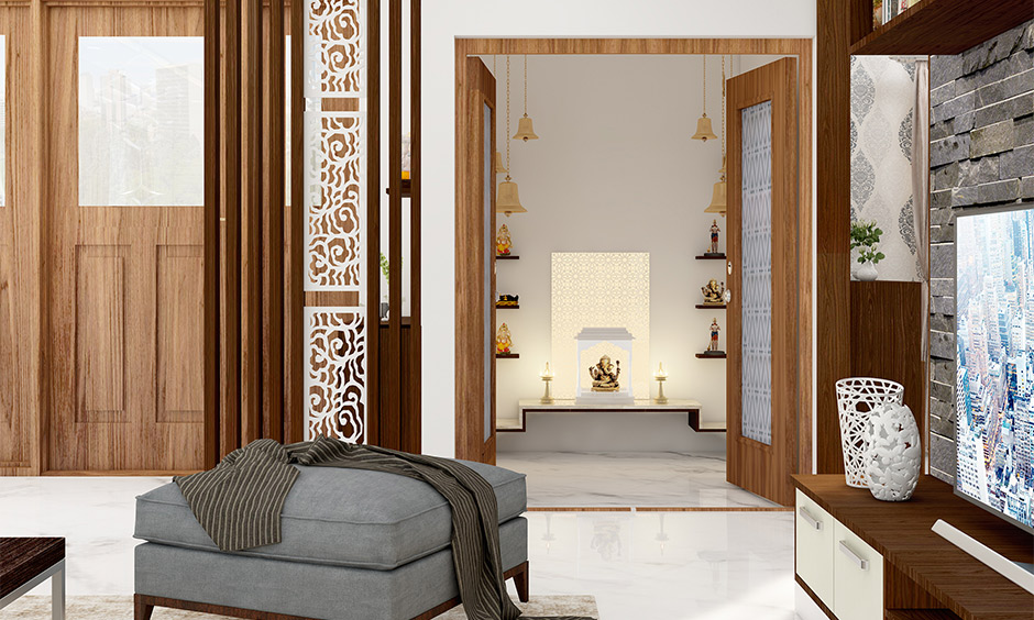 A marvelous small pooja room designs in small apartments with white marble flooring