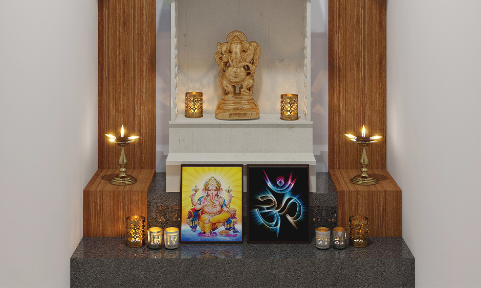 Modern small pooja room designs in apartments with white vitrified tiled wall