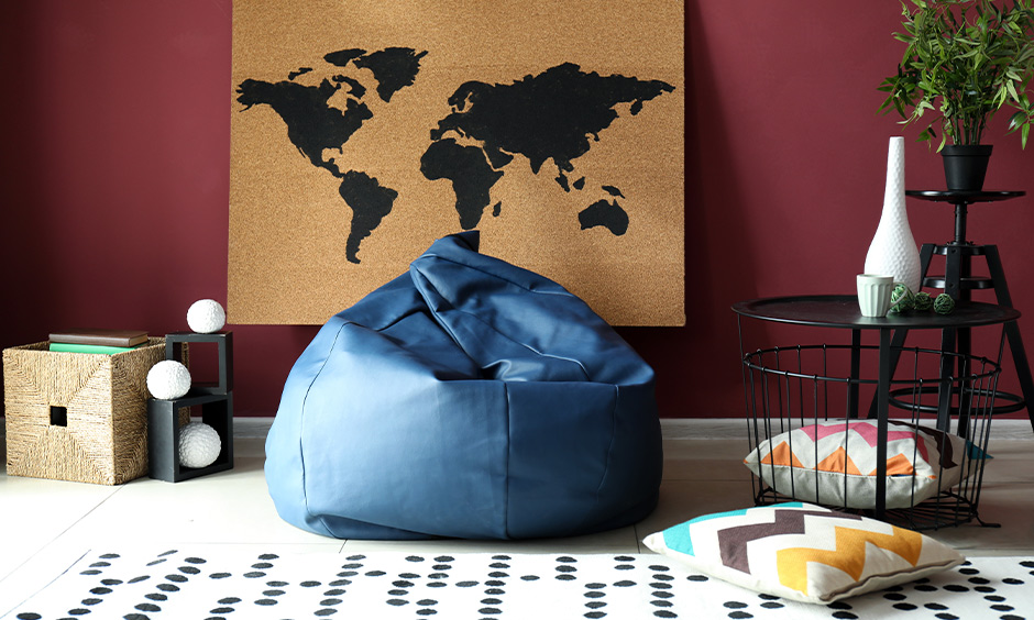 Floor seating ideas for living room, Blue coloured bean bag placed in the living room adds modern touch and comfort.