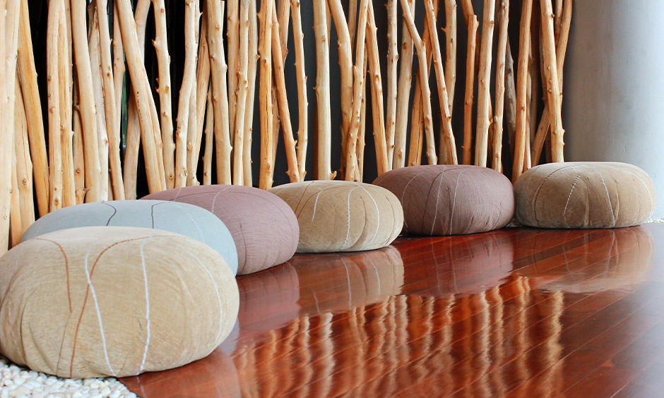 Floor cushion seating idea, cushions with different textures and colours look funky in the area.