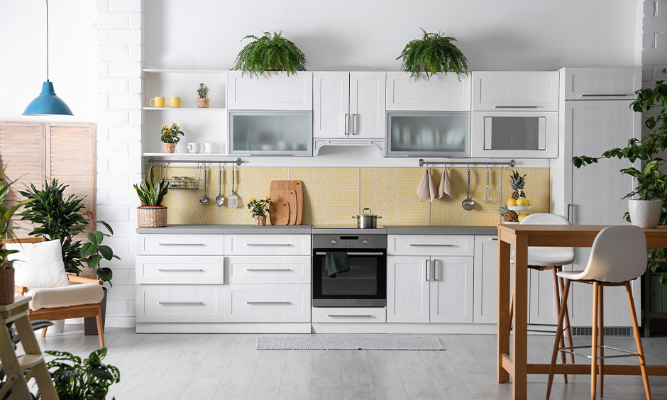 Single-walled white kitchen facing towards the east is the best direction for the kitchen as per Vastu.
