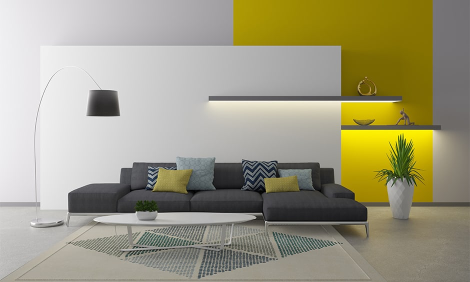 Wall paint design ideas for living room with yellow