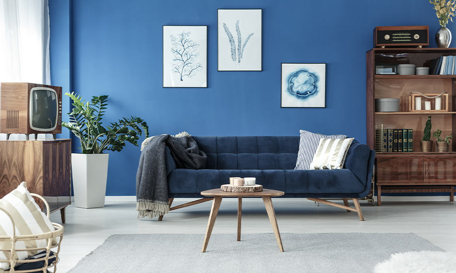 Wall painting ideas with shade of blue for living room