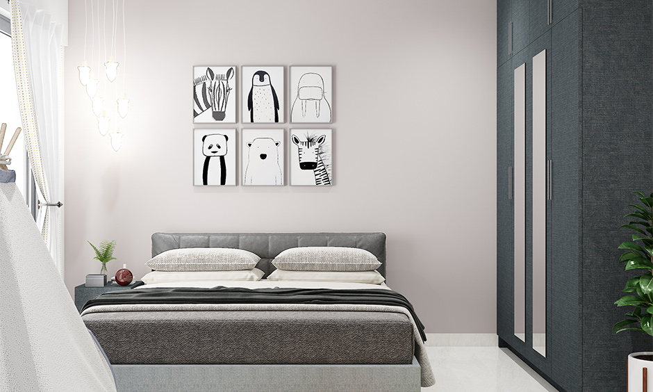 A play of shades with grey and white bedroom which creates an illusion of variety